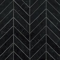 Black Marquina Polished Marble Chevron Mosaic Wall and Floor Tile