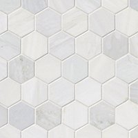 Victoria Grey Light Polished Hex Marble Mosaic Wall and Floor Tile - 2 in