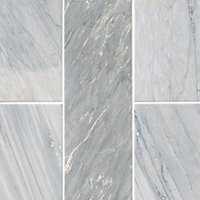 Victoria Grey Dark Brushed Marble Wall and Floor Tile - 4 x 12 in