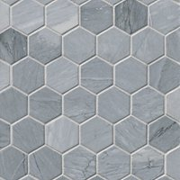 Victoria Grey Dark Brushed Hex Marble Mosaic Wall and Floor Tile - 2 in