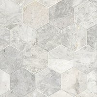Siberian Pearl Brushed Hex Marble Mosaic Wall and Floor Tile - 5 in