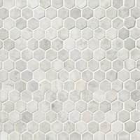 Siberian Pearl Brushed Hex Marble Mosaic Wall and Floor Tile - 1 in