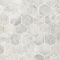 Siberian Pearl Brushed Hex Marble Mosaic Wall and Floor Tile - 2 in