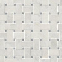 Siberian Pearl Brushed Niles w/ Grey Dot Marble Mosaic Wall and Floor Tile
