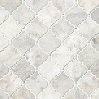 Siberian Pearl Brushed Arabesque Marble Mosaic Wall and Floor Tile