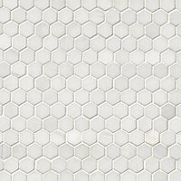 Bianco Puro Honed Marble Hex Mosaic Wall and Floor Tile - 1 in
