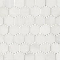 Bianco Puro Honed Marble Hex Mosaic Wall and Floor Tile - 2 in