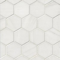Bianco Puro Honed Marble Hex Mosaic Wall and Floor Tile - 3 in
