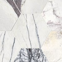 Milas Lilac Polished Marble Hex Wall and Floor Tile - 12 in