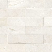 Arctic White Brushed Marble Wall and Floor Tile - 2 x 8 in