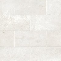 Arctic White Brushed Marble Wall and Floor Tile - 3 x 6