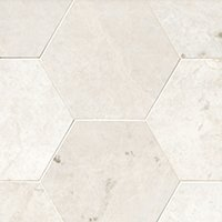 Arctic White Brushed Marble Hex Wall and Floor Tile - 12 in