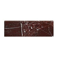 Rosso Marquina Polished Marble Bullnose Wall and Floor Tile - 4 x 12 in