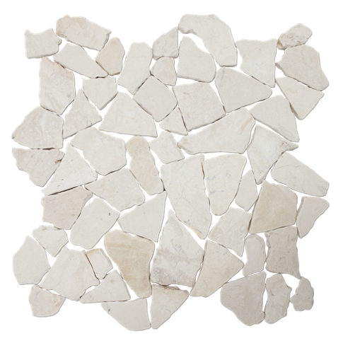 Ivory Tumbled Cobble 12 x 12 in
