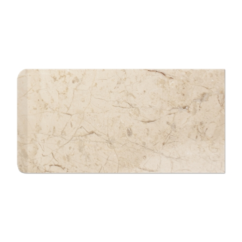 Creme Nova RES Single Bullnose Short Side Marble Wall Tile - 3 x 6 in