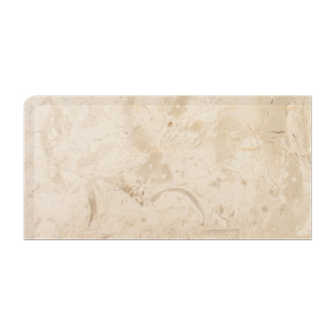 Creme Nova REXL Double Bullnose Left Side Marble Wall Tile - 3 x 6 in