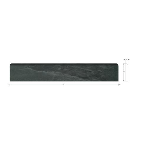 Adoni Black Bullnose Slate Wall Tile Trim - 2 x 12 in