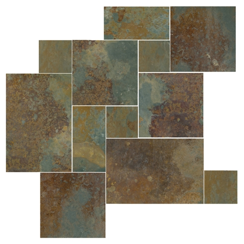 Copper Rust Small Versailles Pattern Slate Floor Tile - 20 x 20 in