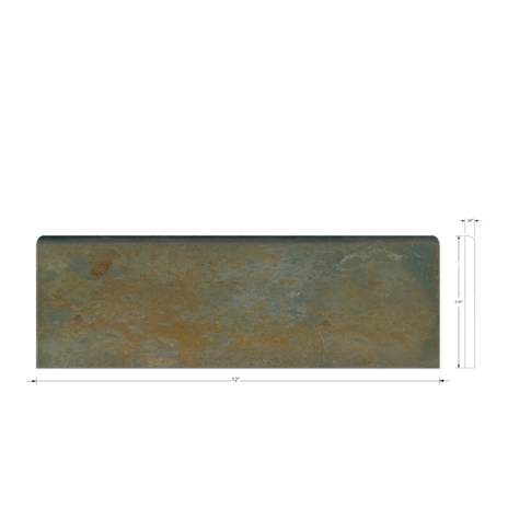 Copper Rust Bullnose Slate Wall Tile Trim - 12 in