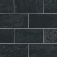 Noir Honed Travertine Subway Wall and Floor Tile - 3 x 6 in