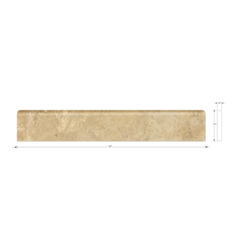Tormento Polished Bullnose Travertine Wall Tile - 2 x 12 in