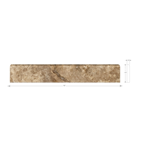 Camargue Polished Bullnose Travertine Wall Tile - 2 x 12 in