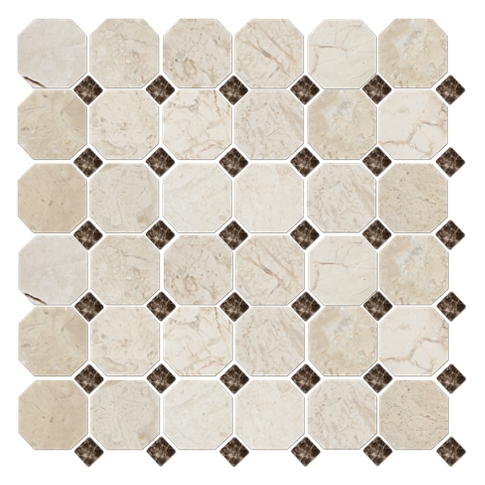 Bisbane Evanston Octagon Marble Wall and Floor Tile - 12 x 12 in
