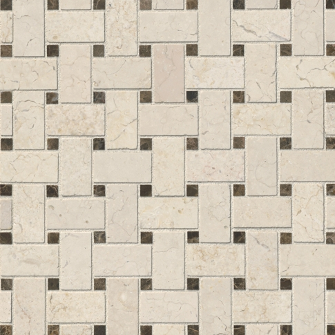 Bisbane Basketweave Marble Mosaic Tile - 12 in.