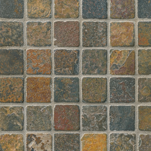 Copper Rust Tumbled Slate Mosaic Tile - 2 in.