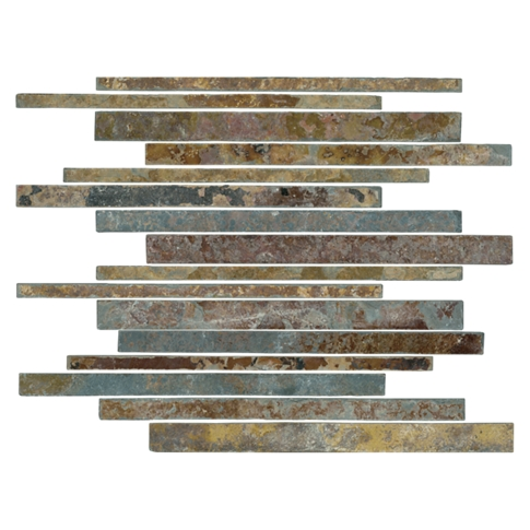 Copper Rust Corinth Slate Mosaic Wall and Floor Tile - 12 x 12 in