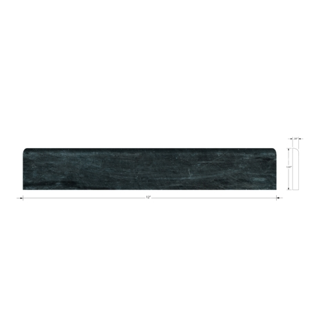Noir Honed Bullnose Travertine Wall Tile Trim - 2 x 12 in