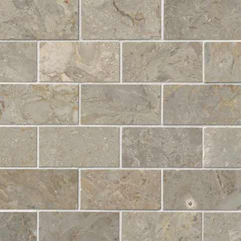 Bandung Gris Polished Amalfi Marble Wall and Floor Tile - 2 x 4 in
