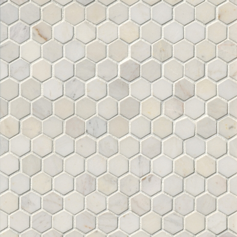 Royal White Polished Hex Marble Wall and Floor Tile - 1 x 1 in