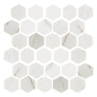 Royal White Polished Hex Marble Wall and Floor Tile - 2 x 2 in