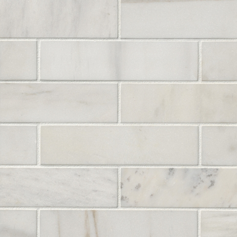 Royal Satin White Marble Wall and Floor Tile - 2 x 8 in