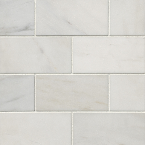 Royal Satin White Marble Wall and Floor Tile - 3 x 6 in