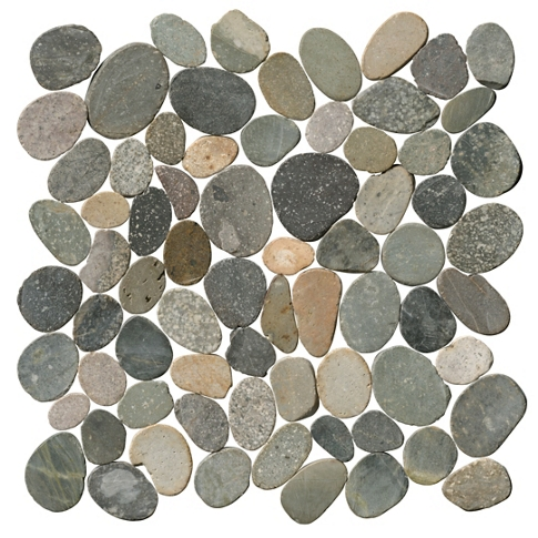 Polished Grey Mosaic Rock Pebble Wall and Floor Tile - 12 x 12 in