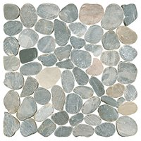 Dusty Grey Pebbles Rock Mosaic Tile - 12 x 12 in.