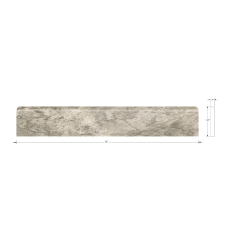 Claros Silver Bullnose Travertine Wall Tile Trim - 2 x 12 in