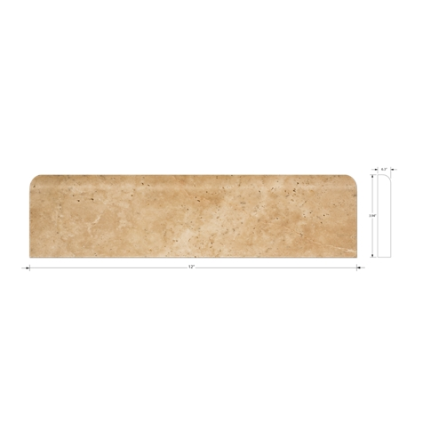 Jinshan Bone Sandlewood Honed Base Travertine Wall and Floor Tile Trim - 4 x 12 in