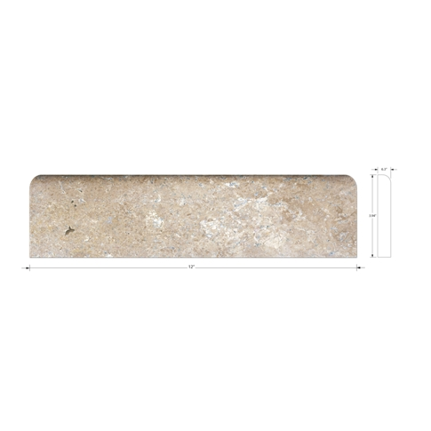 Driftwood Honed Base Travertine Wall and Floor Tile Trim - 12 in
