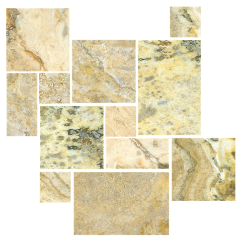 Scabos Honed Filled Small Versailles Pattern Travertine Wall and Floor Tile - 9 sq ft