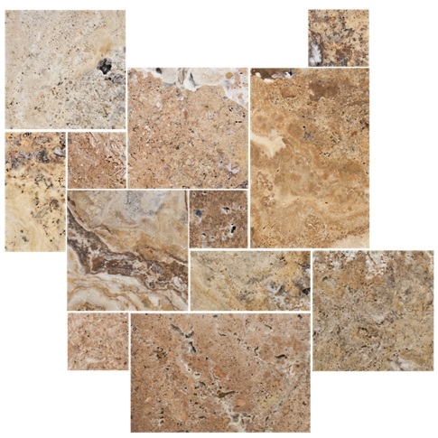 Scabos Brushed Unfilled Chiseled Small Versailles Pattern Travertine Wall and Floor Tile