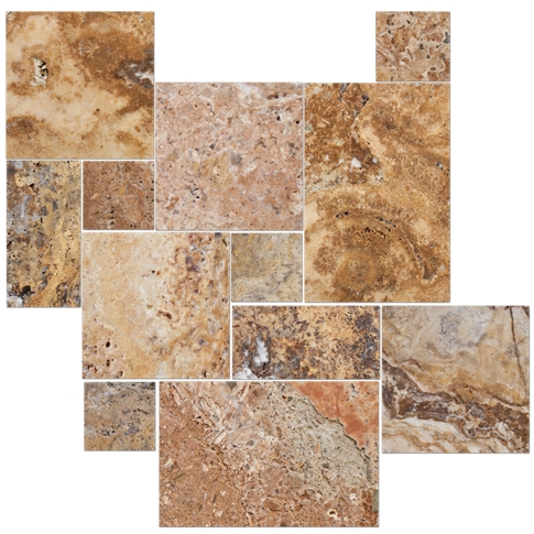 Scabos Brushed Unfilled Chiseled Large Versailles Pattern Travertine Floor Tile