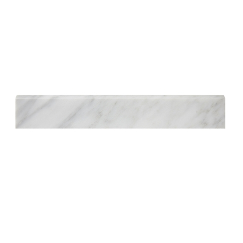 Hampton Carrara Polished Bullnose Marble Wall Tile Trim - 2 x 12 in