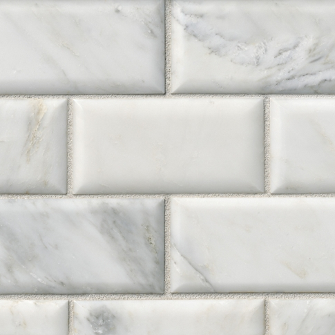 Hampton Carrara Pillowed Marble Subway Wall and Floor Tile - 3 x 6 in