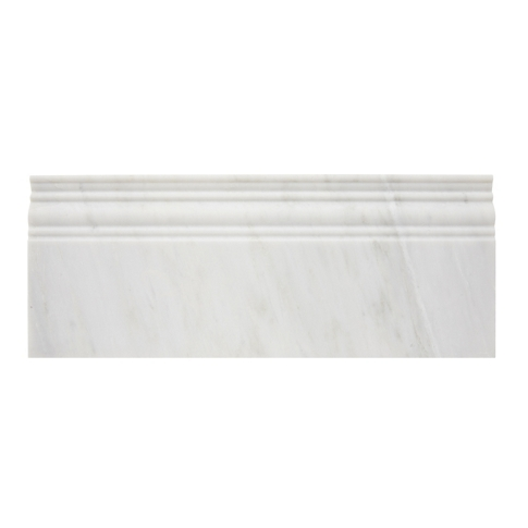 Hampton Carrara Polished Skirting Marble Wall Tile Trim - 4.75 x 12 in