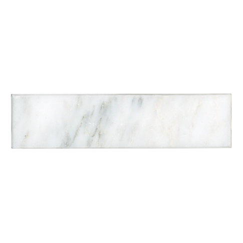 Devonshire Carrara Polished Bullnose Marble Wall Tile Trim - 2 x 8 in