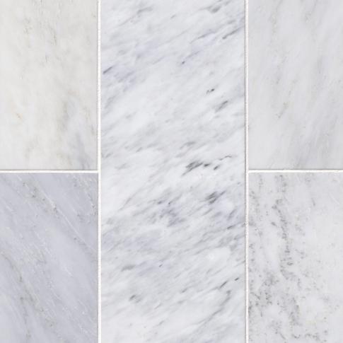 Hampton Carrara Polished Marble Wall and Floor Tile - 8 x 19.5 in