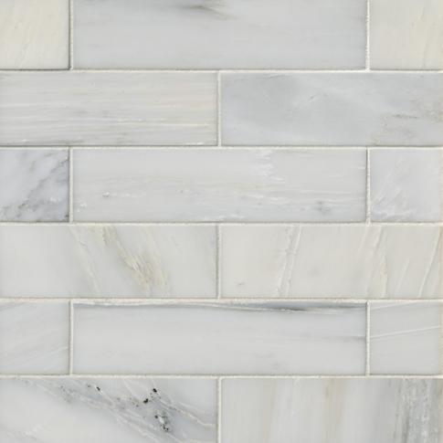 Hampton Carrara Polished Marble Subway Tile - 2 x 8 in.